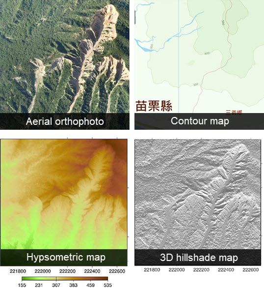Aerial orthophoto、Contour map、Hypsometric map、3D hillshade map